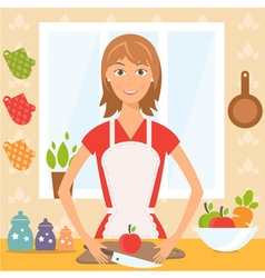 pretty woman on kitchen vector image vector image