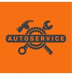 Service auto repair wrench hammer wheel logo vector image