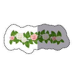 Sticker colorful crown of leaves with roses floral vector