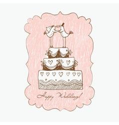 wedding cake hand draw vector image vector image