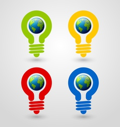 Light bulb earth icons vector image vector image