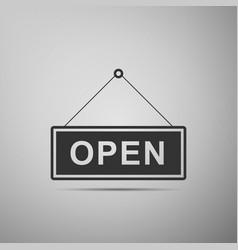 open door sign flat icon on grey background vector image vector image