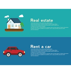 Real estate and Rent a car design banner concept vector image vector image