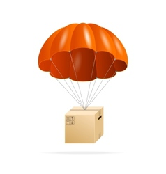 Red parachute with cardboard box on a white vector image