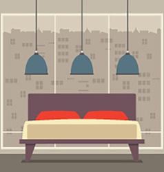 Flat Design Double Bedroom vector image