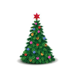 green christmas tree decorated with colorful vector image vector image