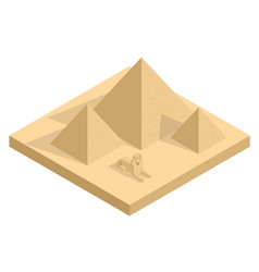 isometric great sphinx including pyramids of vector image