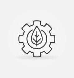 leaf in gear outline icon vector image vector image