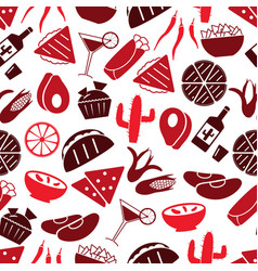 mexican food theme set of icons seamless pattern vector image vector image