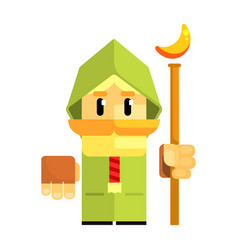 cartoon dwarf in a green cape with staff in his vector image