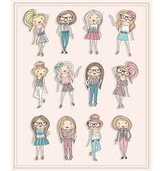 cartoon girls fashion children set of cute girls vector image vector image