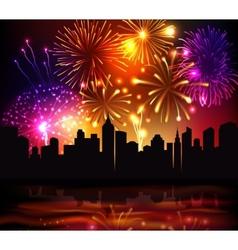 Fireworks City Background vector image