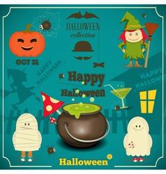 halloween card blue vector image vector image