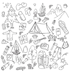 Recreation Tourism and camping set Hand drawn vector image