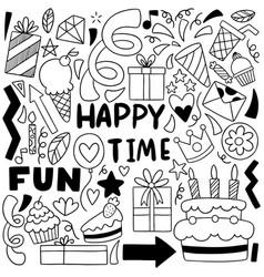 0016 hand drawn party doodle happy birthday vector