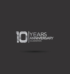 10 years anniversary logotype with silver color vector