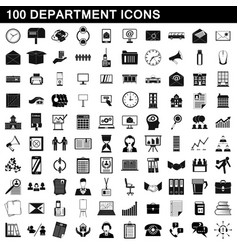 100 department icons set simple style vector image