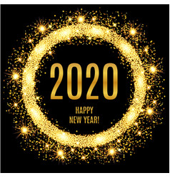 2020 happy new year glowing gold background vector