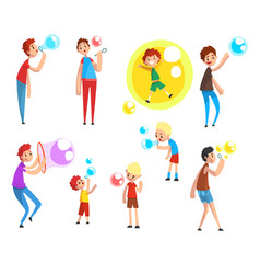 Adults and children blowing soap bubbles people vector