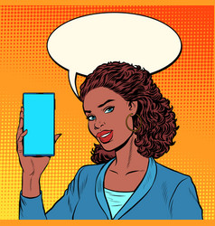 African businesswoman leads a stream on phone vector