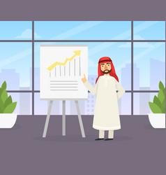 arab businessman making presentation explaining vector image