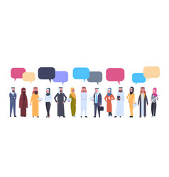 arabic men and women group with chat bubbles over vector image
