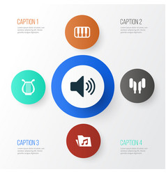 Audio icons set collection of dossier octave vector