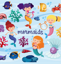 Background design with cute mermaids underwater vector
