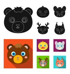 Bear duck mouse deer animal muzzle set vector