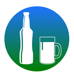 beer bottle sign white icon in bluish vector image