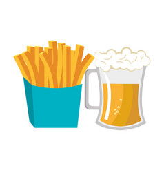 Beer fries french fast food design isolated vector