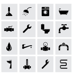 black plumbing icon set vector image