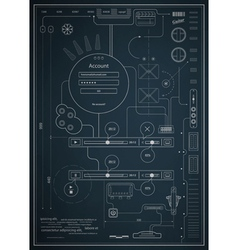 Blueprint infographics drawing a schematic abstrac vector