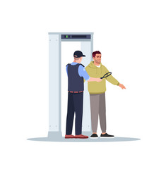 Body scan semi flat rgb color security officer vector