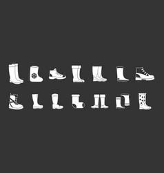 boots icon set grey vector image