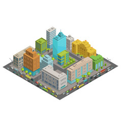 Buildings city streets quarter roads and traffic vector