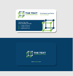 Business card biotechnology blue and green colors vector