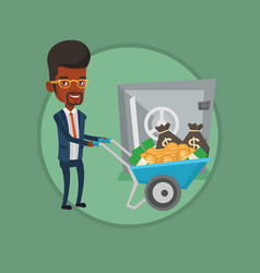 businessman depositing money in bank in the safe vector image