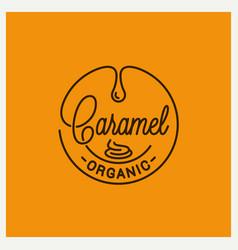 caramel logo round linear caramel on yellow vector image