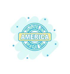 Cartoon colored made in america icon in comic vector