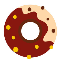 chocolate donut icon isolated vector image