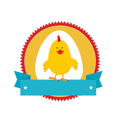 Circular stamp with silhouette chicken animal and vector