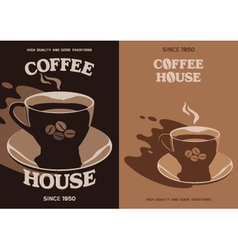 Coffee House poster design with cup and saucer vector image vector image