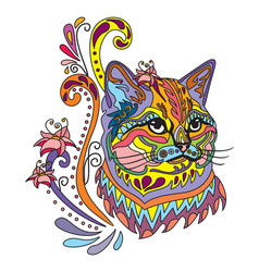 Colorful ornamental cat 6 vector