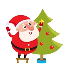 Cute and funny Santa Claus decorating a Christmas vector image