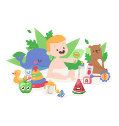 cute baplaying with toys little boy cartoon vector image