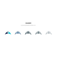 Diadem icon in different style two colored and vector