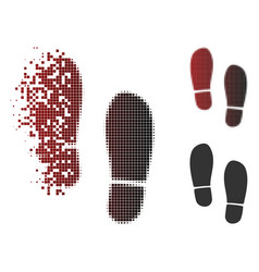dissolving dotted halftone boot footprints icon vector image