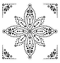 Dot art flower traditional aboriginal dot vector