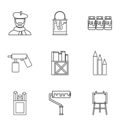 Drawing icons set outline style vector